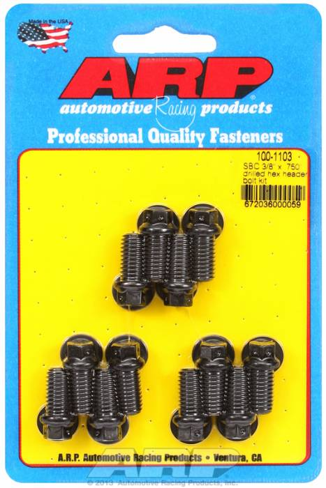 "ARP - ARP1001103 - ARP Header Bolt Kit- Chevy Small Block - 3/8""X .750""- Black Oxide- 6 Point Nuts-Qty.-12- Drilled For Safety Wire"