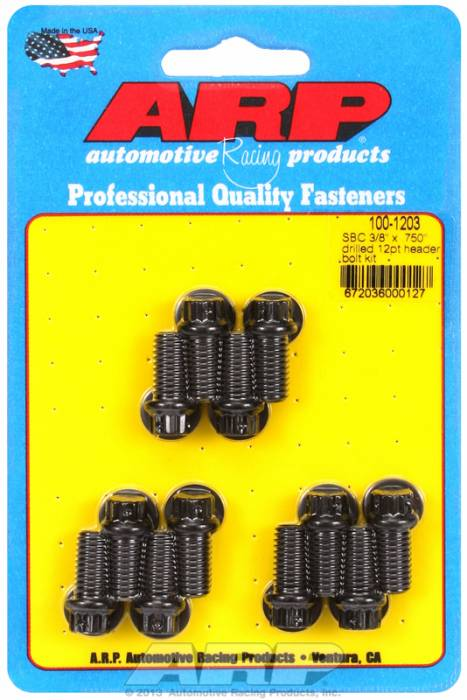 "ARP - ARP1001203 -ARP Header Bolt Kit- Chevy Small Block - 3/8""X .750""- Black Oxide- 12 Point Nuts-Qty.-12- Drilled For Safety Wire"