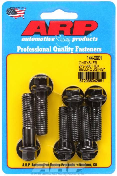 ARP - ARP1440901 - Bellhousing to Engine Block Bolt Kit, Chrysler/Dodge 273-318-340-360 Wedge, Black Oxide, Hex Head, Stud OAL 1.375, 3/8-16, Bolt OAL 1.50/1.750, 7/16-14