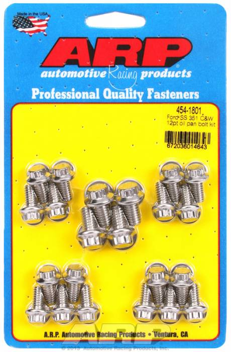 ARP - ARP4541801 - ARP Oil Pan Bolt Kit- Ford 289-302-351C-351W- Stainless Steel- 12 Point