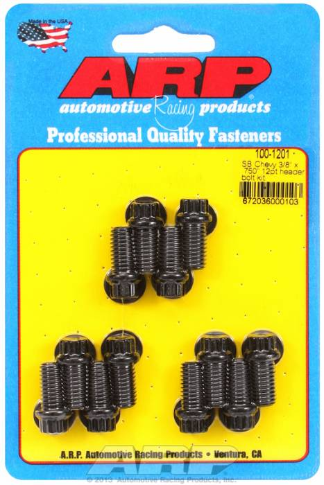 "ARP - ARP1001201 -ARP Header Bolt Kit- Chevy Small Block - 3/8""X .750""- Black Oxide- 6 Point Nuts-Qty.-12"