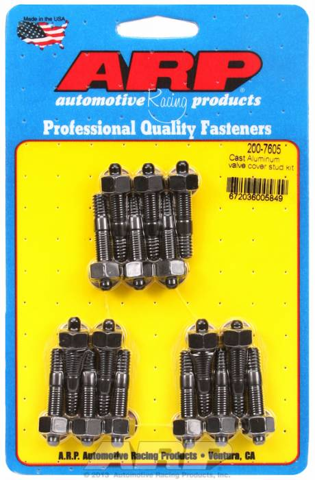 "ARP - ARP2007605 - ARP Valve Cover Stud  Kit - For Cast Aluminum Covers- 1/4""-20 X 1.50"" - Black Oxide - 6 Point Head-Qty.-16"