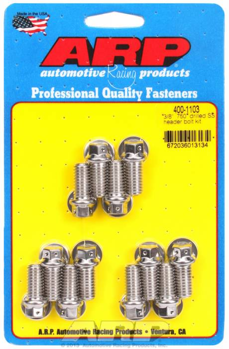 "ARP - ARP4001103 - ARP Header Bolt Kit- Chevy Small Block - 3/8""X .750""- Stainless Steel- 6 Point Nuts-Qty.-12- Drilled For Safety Wire"