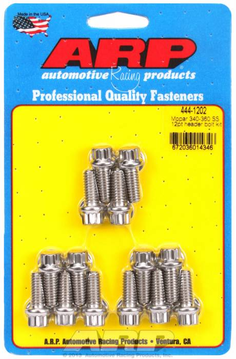 "ARP - ARP4441202 - ARP Header Bolt Kit- Chrysler - 5/16"" X .750""- Stainless Steel- 12 Point Nuts-Qty.-14"