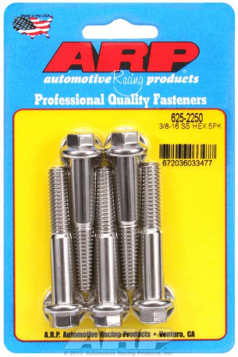 "ARP - ARP6252250 - ARP Bulk Fasteners 3/8""-16 X 2.250"" Stainless, Hex Head, 7/16"" Wrenching - 5 Pack"