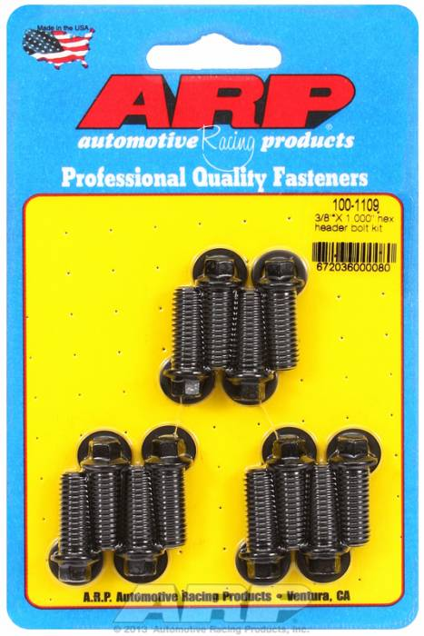 "ARP - ARP1001109 - ARP Header Bolt Kit- Universal Application - 3/8""X 1.000""- Black Oxide- 6 Point Nuts-Qty.-12"