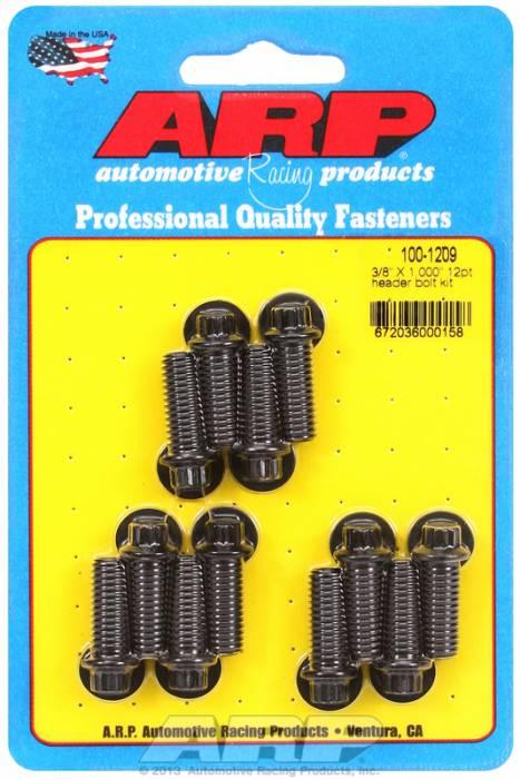 "ARP - ARP1001209 -ARP Header Bolt Kit- Universal Application - 3/8""X 1.000""- Black Oxide- 12 Point Nuts-Qty.-12"