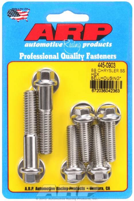 ARP - ARP4450903 - Bellhousing to Engine Block Bolt Kit, Chrysler/Dodge 383-400-413-426-440 Wedge, Stainless, Hex Head, Stud OAL 1.375, 3/8-16, Bolt OAL 2.000/2.250, 7/16-14