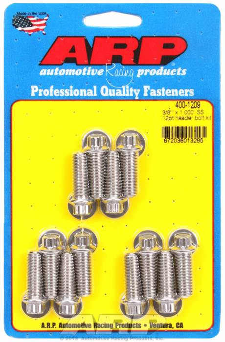 "ARP - ARP4001209 - ARP Header Bolt Kit- Universal Application - 3/8""X 1.000""- Stainless Steel- 12 Point Nuts-Qty.-12"