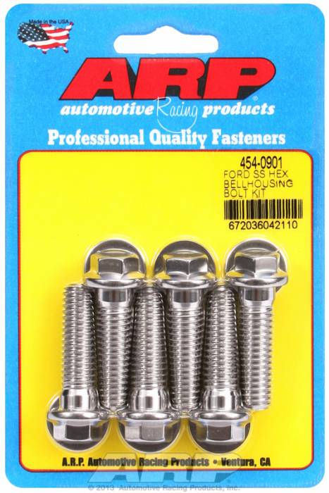 ARP - ARP4540901 - Bellhousing to Engine Block Bolt Kit, Ford 289-302-351W small block - Automatic Transmission, Stainless, Hex Head, 1.500 OAL, 7/16-14