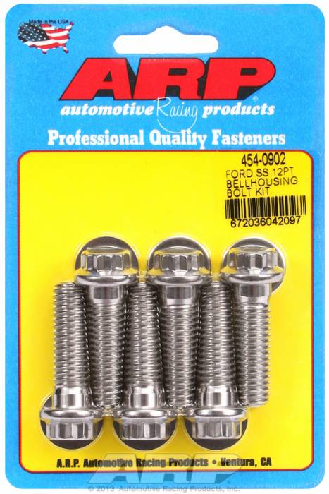 ARP - ARP4540902 - Bellhousing to Engine Block Bolt Kit, Ford 289-302-351W small block - Automatic Transmission, Stainless, 12-Point Head, 1.500 OAL, 7/16-14