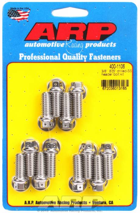 "ARP - ARP4001106 - ARP Header Bolt Kit- Universal Application - 3/8""X .875""- Stainless Steel- 6 Point Nuts-Qty.-12- Drilled For Safety Wire"