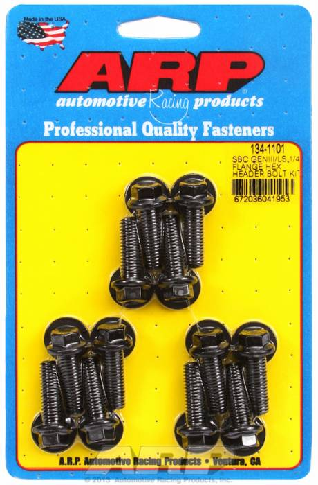 "ARP - ARP1341101 - ARP Header Bolt Kit - SBC/LS Series, 1/4"" wide header flange - M8- .984"" UHL, Black Oxide, Hex Head, Qty. - 12"