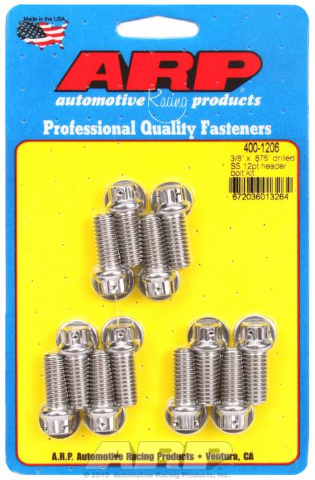 "ARP - ARP4001206 - ARP Header Bolt Kit- Universal Application - 3/8""X .875""- Stainless Steel- 12 Point Nuts-Qty.-12- Drilled For Safety Wire"