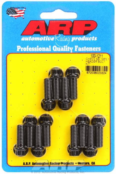 "ARP - ARP1001211 - ARP Header Stud Kit- Chevy Small Block - 3/8""X 1.000""- Black Oxide- 12 Point Nuts-Qty.-12"