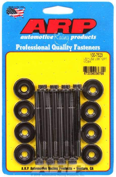 "ARP - ARP1007523 - ARP Valve Cover Bolt Kit -Chevy Gen III/LS Series-M6 X 2.755"" Black Oxide, 12 Point Head, Qty. -8"