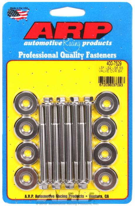 """ARP - ARP4007529 - ARP Valve Cover Bolt Kit - Chevy Gen Iii/Ls Series - M6 X 2.755"""" Polished Stainless Steel, Hex Head, Qty. -8"""
