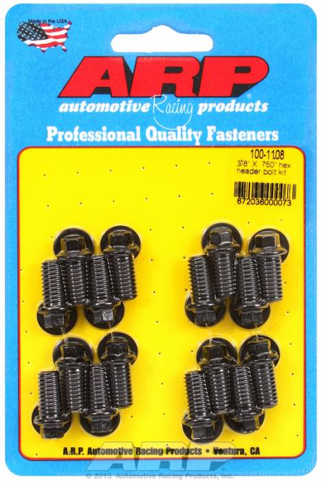 "ARP - ARP1001108 -ARP Header Bolt Kit- Universal Application - 3/8""X .750""- Black Oxide- 6 Point Nuts-Qty.-16"