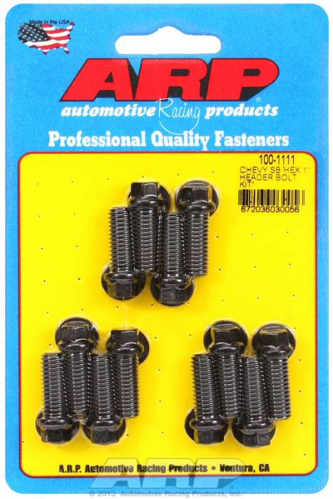 "ARP - ARP1001111 - ARP Header Stud Kit- Chevy Small Block - 3/8""X 1.000""- Black Oxide- 6 Point Nuts-Qty.-12"