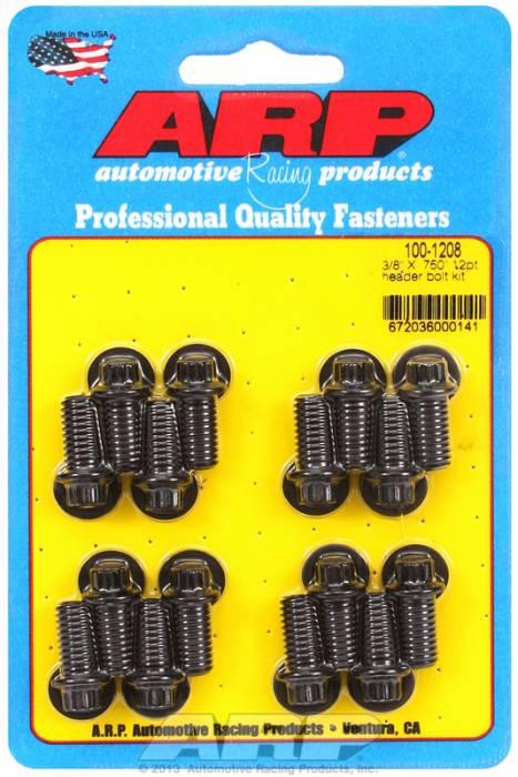 "ARP - ARP1001208 - ARP Header Bolt Kit- Universal Application - 3/8""X .750""- Black Oxide- 12 Point Nuts-Qty.-16"