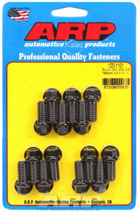 "ARP - ARP1201101 - ARP Header Bolt Kit- Buick 350-455 - 3/8""X1.670""- Black Oxide- 6 Point Nuts-Qty.-14"