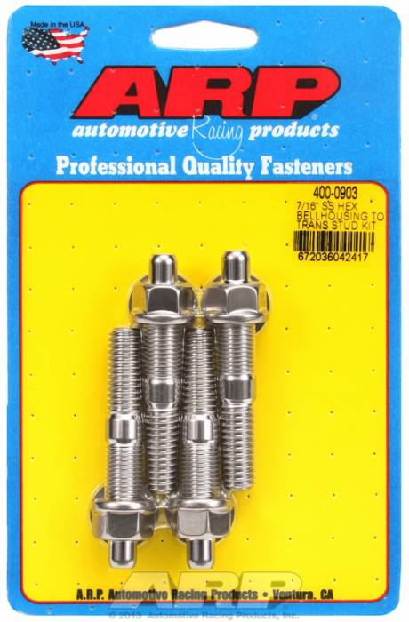 ARP - ARP4000903 - ARP Bellhousing Stud Kit, Bellhousing to Manual Transmission, Universal, 7/16-14, Stainless Steel, Hex Head, 2.750 OAL
