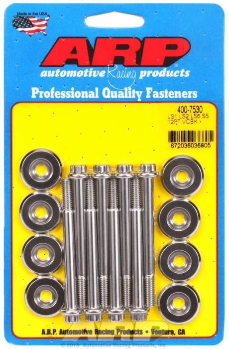 "ARP - ARP4007530 - ARP Valve Cover Bolt Kit - Chevy Gen III/LS Series - M6 X 2.755"" Polished Stainless Steel, 12 Point Head, Qty. -8"