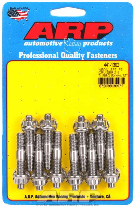 "ARP - ARP4411302 - ARP Header Stud Kit- Chrysler Neon & PT Cruiser W/ 2.4L Turbo M8 X 2.00""- Stainless Steel- 12 Point Nuts-Qty.-10"