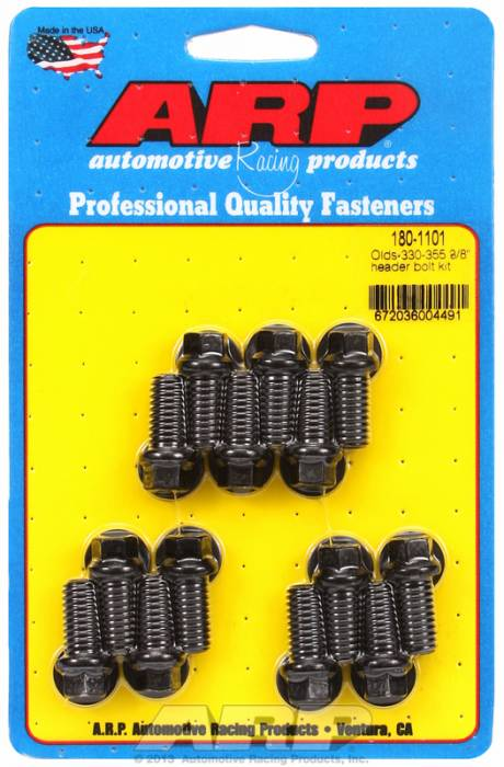 "ARP - ARP1801101 - ARP Header Bolt Kit- Oldsmobile V8 - 3/8""X 1.670""- Black Oxide- 6 Point Nuts-Qty.-14"