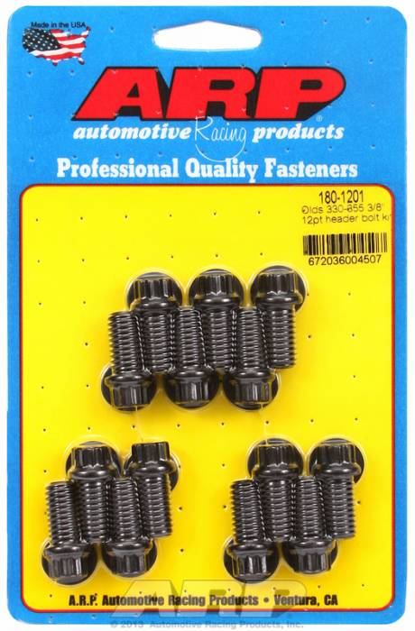 "ARP - ARP1801201 - ARP Header Bolt Kit- Oldsmobile V8 - 3/8""X 1.670""- Black Oxide- 12 Point Nuts-Qty.-14"