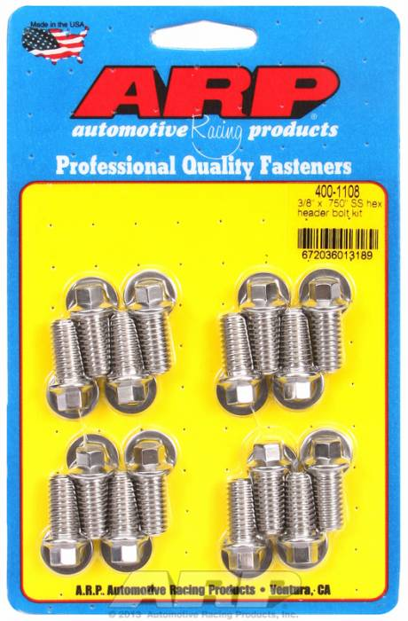 "ARP - ARP4001108 -ARP Header Bolt Kit- Universal Application - 3/8""X .750""- Stainless Steel- 6 Point Nuts-Qty.-16"