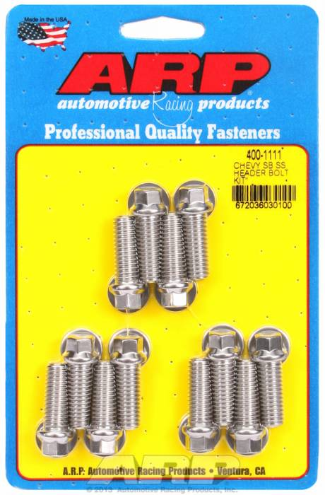 "ARP - ARP4001111 - ARP Header Stud Kit- Chevy Small Block - 3/8""X 1.000""- Stainless Steel- 6 Point Nuts-Qty.-12"