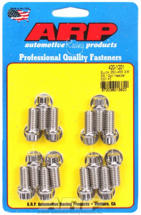 "ARP - ARP4201201 - ARP Header Bolt Kit- Buick 350-455 - 3/8""X1.670""- Stainless Steel- 12 Point Nuts-Qty.-14"