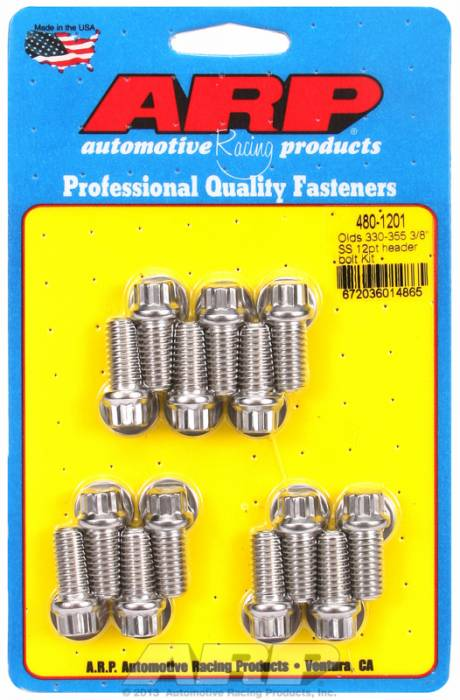 "ARP - ARP4801201 - ARP Header Bolt Kit- Oldsmobile V8 - 3/8""X 1.670""- Stainless Steel- 12 Point Nuts-Qty.-14"