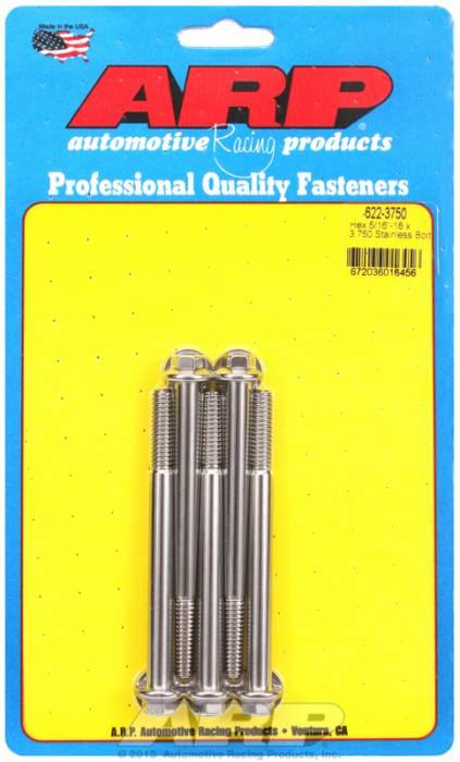 """ARP - ARP6223750 - ARP Sae Bolt Kit, 5/16-18, 3.750 Uhl, 1.000 Thread Length, 2.750 Grip Length, 3/8"""" Wrenching, Stainless Steel, Hex Head, 5 Pack"""