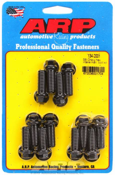 ARP - ARP1342001 - ARP Intake Manifold Bolt Kit- Chevy Small Block-265-400- Black Oxide- 6 Point Head