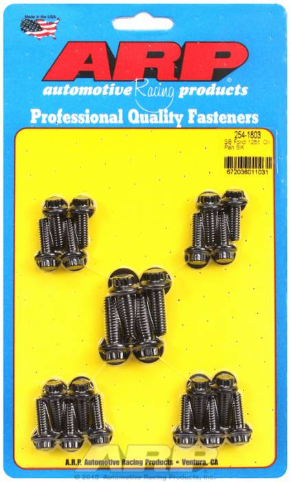 ARP - ARP2541803 - ARP Oil Pan Bolt Kit-  Ford Small Block- Early Models (8Pack)-Black Oxide- 12 Point