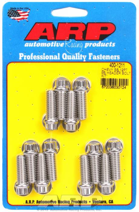 "ARP - ARP4001211 - ARP Header Stud Kit- Chevy Small Block - 3/8""X 1.000""- Stainless Steel- 12 Point Nuts-Qty.-12"