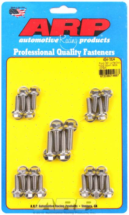 ARP - ARP4541804 -ARP Oil Pan Bolt Kit- Ford 351C-351W With Stamped Steel Pan- Stainless Steel- 6 Point