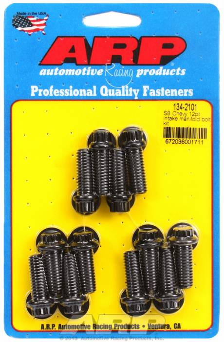 ARP - ARP1342101 - ARP Intake Manifold Bolt Kit- Chevy Small Block-265-400- Black Oxide- 12 Point Head