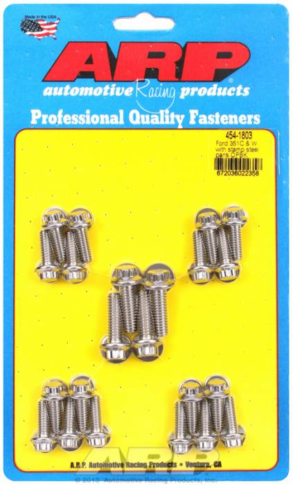 ARP - ARP4541803 - ARP Oil Pan Bolt Kit- Ford 351C-351W With Stamped Steel pan- Stainless Steel- 12 Point