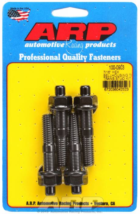 ARP - ARP1000903 - ARP Bellhousing Stud Kit, Bellhousing to Manual Transmission, Universal, 7/16-14, Black Oxide, Hex Head, 2.750 OAL