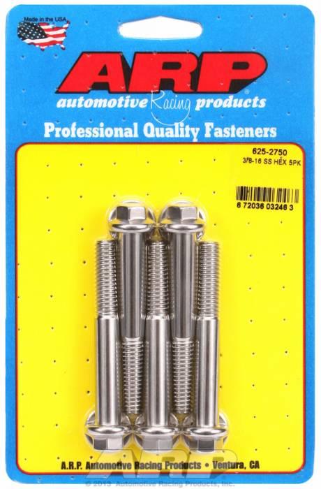 """ARP - ARP6252750 - ARP Bulk Fasteners 3/8""""-16 X 2.750"""" Stainless, Hex Head, 7/16"""" Wrenching - 5 Pack"""