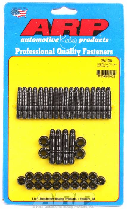 ARP - ARP2541904 - ARP Oil Pan Stud Kit- Ford 302-351W- With Side Rail - Black Oxide- 12 Point
