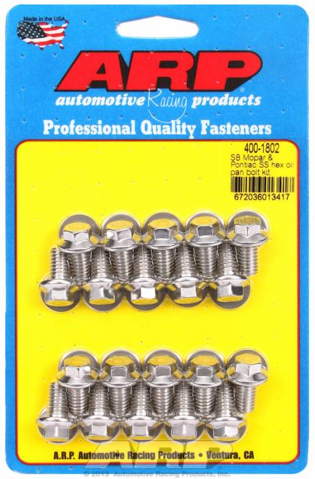 ARP - ARP4001802 - ARP Oil Pan Bolt Kit- Small Block Chrysler & Pontiac V8- Stainless Steel- 6 Point