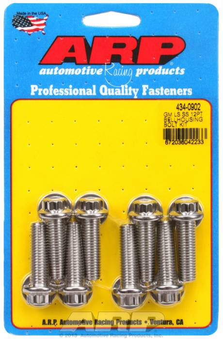 "ARP - ARP4340902 - ARP Bellhousing to Engine Block Bolt Kit, Chevy Gen III/LS Small Block, Stainless Steel, 12 Point Head, 1.375"" UHL, M10 x 1.5 Thread"