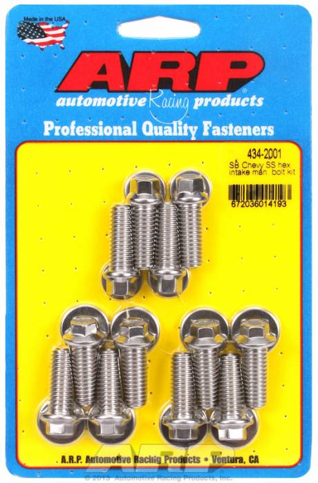 ARP - ARP4342001 - ARP Intake Manifold Bolt Kit- Chevy Small Block-265-400-Stainless Steel- 6 Point Head