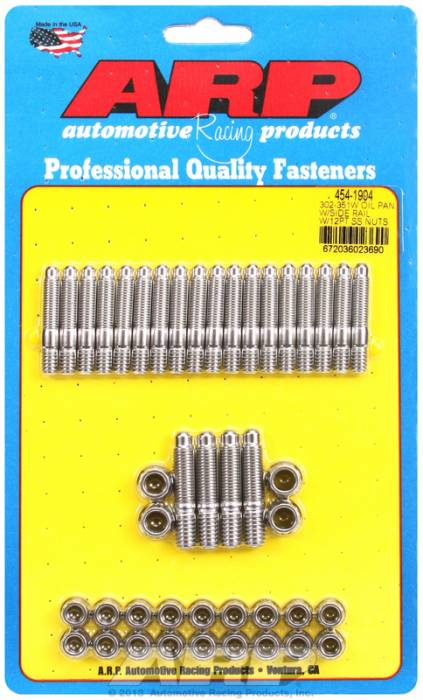 ARP - ARP4541904 - ARP Oil Pan Stud Kit- Ford 302-351W- With Side Rail - Stainless Steel- 12 Point