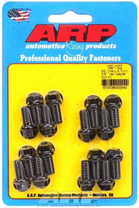 "ARP - ARP1001102 - ARP Header Bolt Kit- Chevy Big Block & Ford V8 - 3/8""X .750""- Black Oxide- 6 Point Nuts-Qty.-16"