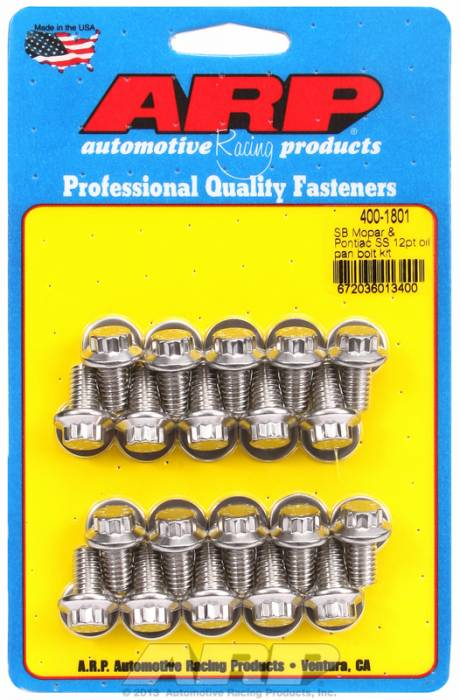 ARP - ARP4001801 -ARP Oil Pan Bolt Kit- Small Block Chrysler & Pontiac V8- Stainless Steel- 12 Point